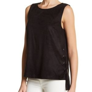 NWT 1.State Sleeveless Faux Suede Lace-Up Tank Top